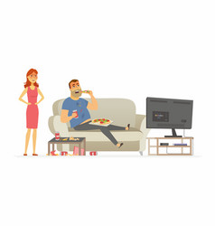 Wife angry with husband - cartoon people character vector