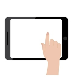 Female hands holding tablet computer touch screen vector image