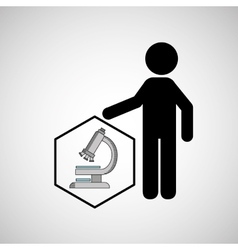 Silhouette man science microscope research vector