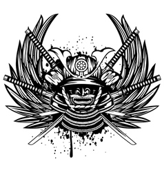 samurai helmet menpo with yodare-kake vector image