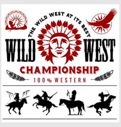 Wild west native american chief head vector