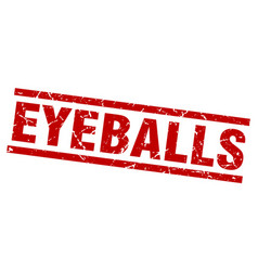 Square grunge red eyeballs stamp vector