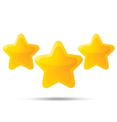 Three golden stars star icons on white background vector