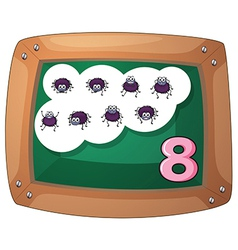A blackboard with eight insects vector
