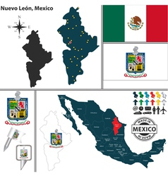 Map of nuevo leon vector