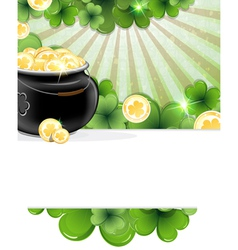 Pot of gold and shamrock clover vector
