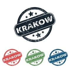 Round krakow city stamp set vector