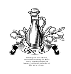 Decorative label with a bottle of oil and olives vector