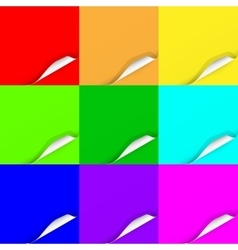 Multicolored set of curled paper sheets vector
