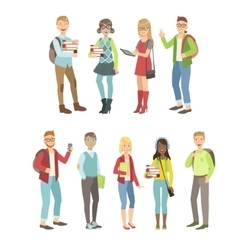 College students characters set vector