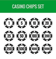 Casino chips set black poker chips with numbers vector