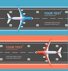 airport plane runway travel concept flyer banners vector image vector image