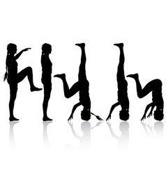 Black silhouette woman in yoga pose on white vector image vector image