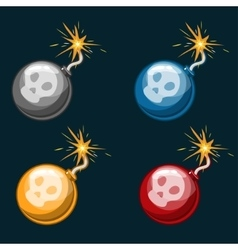 Cartoon dangerous multicolored bombs vector