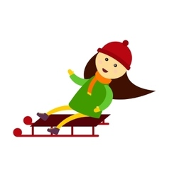 Christmas kid sledding vector