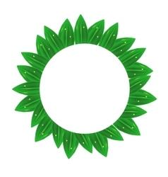 Circle green leaves frame vector