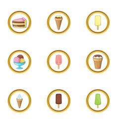 Delicious ice cream icons set cartoon style vector