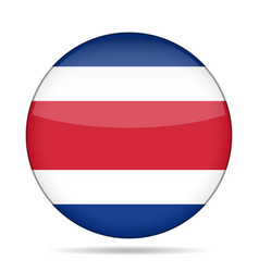 Flag of costa rica shiny round button vector