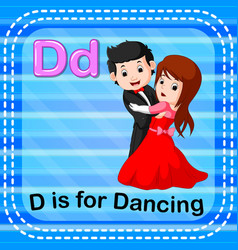 Flashcard letter d is for dancing vector
