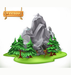 Forest and mountain camping 3d icon vector