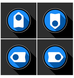 Four white blue arrows - black shadows vector