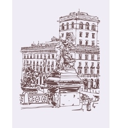 Freehand sepia travel card from rome italy old vector