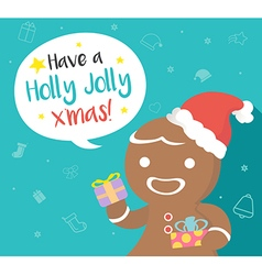 Gingerbread man with speech bubble vector