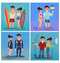 Man and Woman with Surf Active People Beach Sports vector image vector image