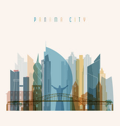 panama city skyline detailed silhouette vector image