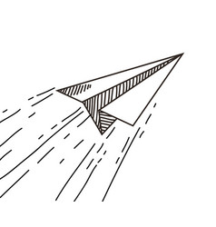 Paper plane drawing vector