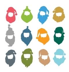 Portrait Santa Claus coloreful face icons vector image vector image