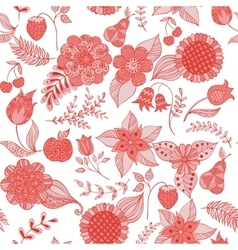 Red floral doodle seamless pattern vector