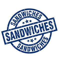 sandwiches blue round grunge stamp vector image vector image