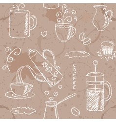 Seamless pattern with hand drawn coffee items vector image vector image