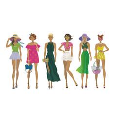 set of stylish summer girlsfashion models vector image