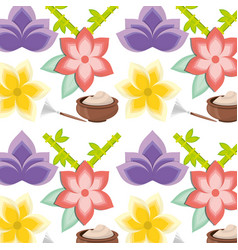 Spa mask product with flowers background vector