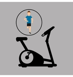 Sport man running static bike vector