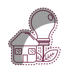 Sticker house with save bulb plant with leaves vector