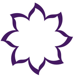 Thin contour purple of flower icon vector