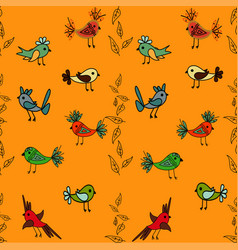 Tree with cute colorful birds seamless pattern vector