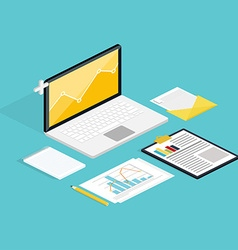 Web of analytics process with claptop and vector image