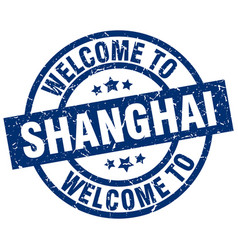Welcome to shanghai blue stamp vector
