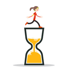 Woman running on sand clock icon vector