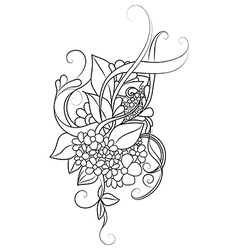 Zentangle floral pattern Doodle art flowers vector image