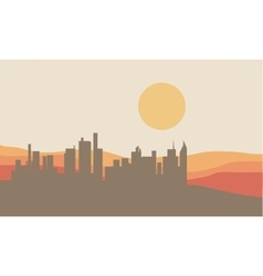 Beautiful silhouette of city and sun vector
