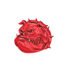 Angry bulldog head drawing vector