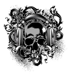 Decorative background with skull vector image