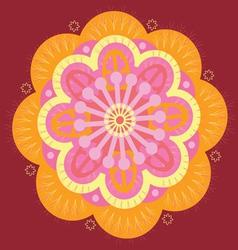 Orange floral mandala vector image