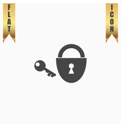 Padlock and key icon eps 10 vector