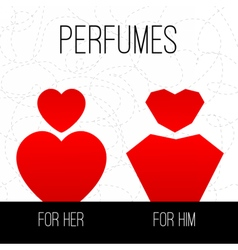 Perfumes for him and for her vector